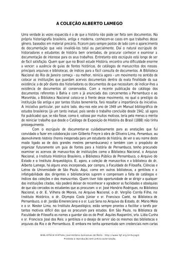 A COLEÇÃO ALBERTO LAMEGO - Biblioteca Virtual José Antonio ...