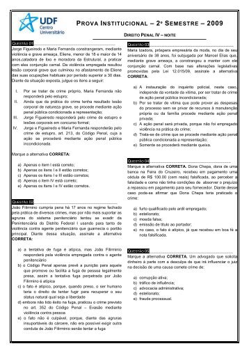 DIREITO PENAL IV - 1ª CHAMADA _NOITE_ - UDF