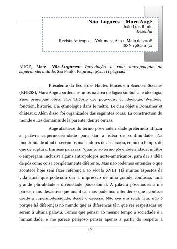 Resenha 1 - Não-lugares - Marc Augé - João ... - Revista Antropos