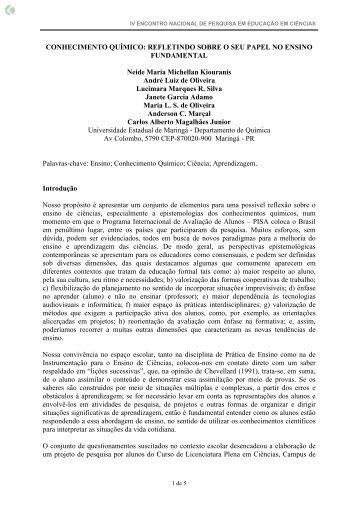 CONHECIMENTO QUÍMICO: REFLETINDO SOBRE O ... - Fep.if.usp.br