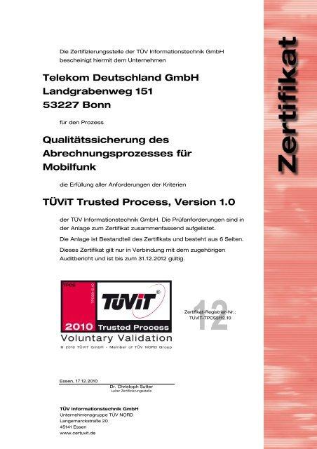 Telekom Deutschland Gmbh Landgrabenweg 151 53227 Tüvit