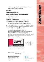 Rijden met RouteLint, 1.0.2.1 Trusted Product Maintainabi - TÜViT