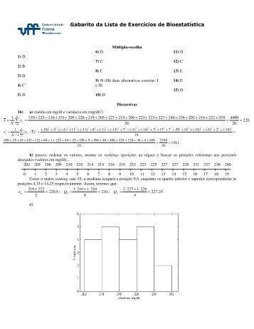Gabarito da Lista de Exercícios de Bioestatística - Professores da UFF