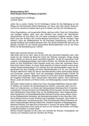 Rede Bürgermeister Wolfgang Jungnitsch