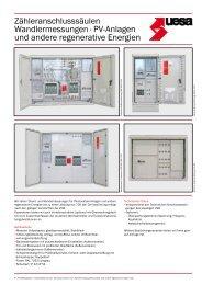 Zähleranschlusssäulen Wandlermessungen · PV-Anlagen ... - uesa