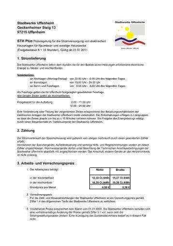 STH Plus Preisregelung für die Stromversorgung von ... - Uffenheim