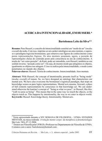 Acerca da intencionalidade, em Husserl - Nucleo de Humanidades ...