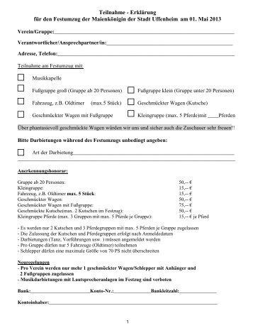 Anmeldung zum Walpurgiumzug - Uffenheim