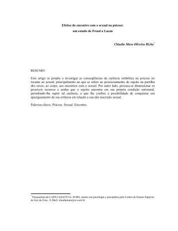 Efeitos do encontro com o sexual na psicose - Psicanálise & Barroco