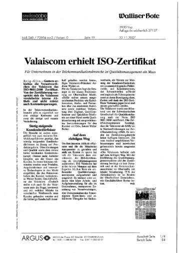 10 free Magazines from VALAISCOM