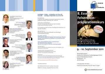 8. Essener Felsenbein-präparationskurs 9.-10. September 2011