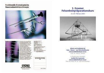 3. Essener Felsenbeinpräparationskurs - Universitätsklinikum Essen