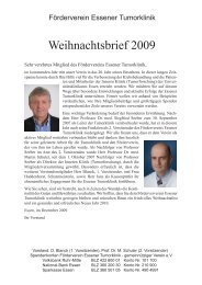 Weihnachstbrief 2009 - Universitätsklinikum Essen