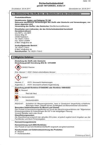 Ketten- und Seilspray TS 140 - Ullner u. Ullner