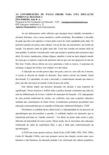 AS CONTRIBUIÇÕES DE PAULO FREIRE PARA UMA ... - ANPEd