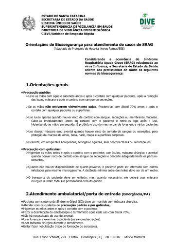 estado de santa catarina - Diretoria de Vigilância Epidemiológica