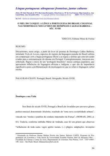 a língua portuguesa do brasil colonial nas modinhas e nos lundus de