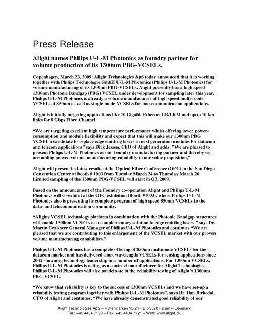Alight announces Philips U-L-M Photonics as foundry partner for its