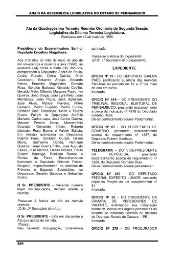 13/05/1996 - Assembleia Legislativa do Estado de Pernambuco