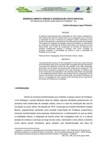 DESENVOLVIMENTO URBANO E SEGREGAÇÃO SÓCIO-ESPACIAL