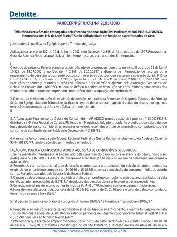 PARECER/PGFN/CRJ/Nº 2195/2003 - Deloitte Touche Tohmatsu