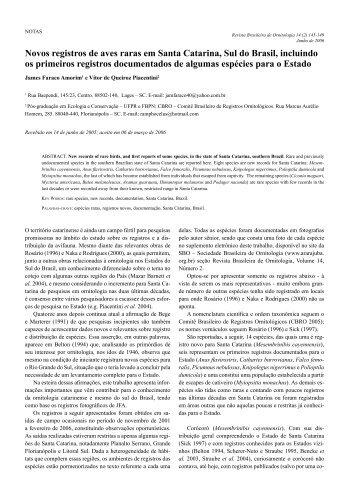 Novos registros de aves raras em Santa Catarina - Sociedade ...