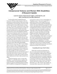 Interpersonal Violence and Women With Disabilities: A Research Update