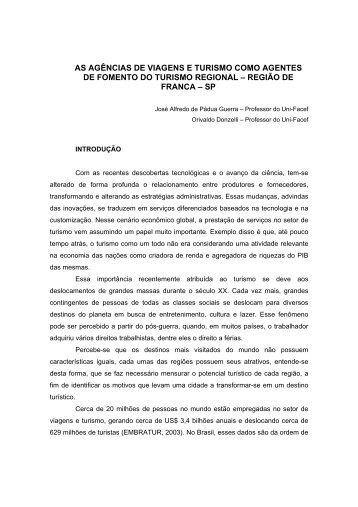 AS AGÊNCIAS DE VIAGENS E TURISMO COMO AGENTES DE FOMENTO DO ...