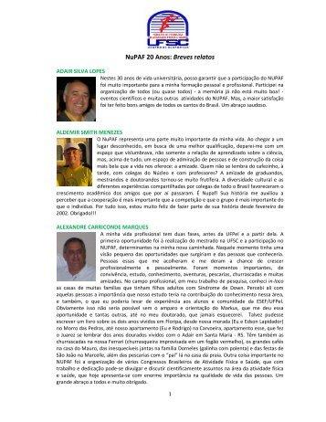 NuPAF 20 Anos: Breves relatos - NuPAF - Universidade Federal de ...