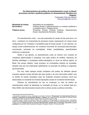 Os (des)caminhos da política de assentamentos rurais no Brasil ...