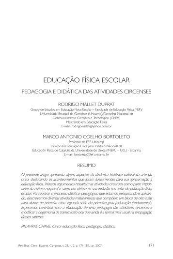 educação física escolar - Revista Brasileira de Ciências do Esporte
