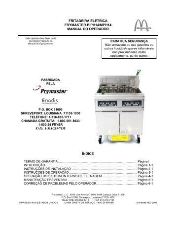 fritadeira elétrica frymaster biph14/mph14 manual do operador índice