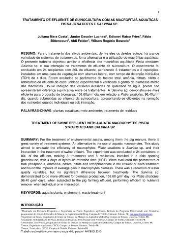 Tratamento de efluente de suinocultura com as macrófitas - Unioeste