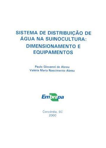 sistema de distribuição de água na suinocultura - Embrapa