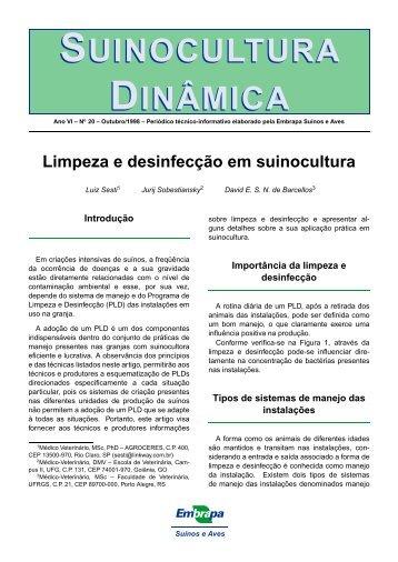 Limpeza e desinfecção em suinocultura - Embrapa