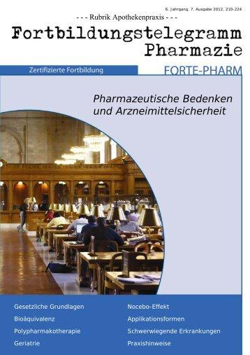 Pharmazeutische Bedenken und Arzneimittelsicherheit Tobias ...