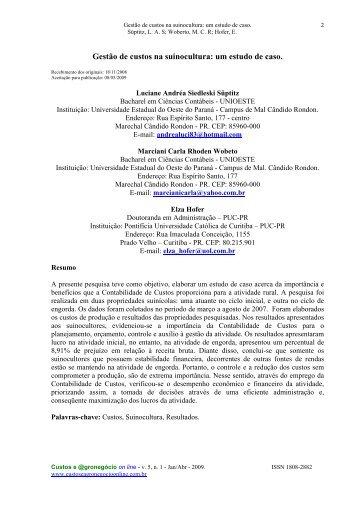 Gestão de custos na suinocultura: um estudo de caso. - Custos e ...