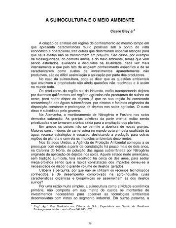 A SUINOCULTURA E O MEIO AMBIENTE - Embrapa Suínos e Aves