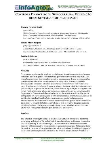 CONTROLE FINANCEIRO NA SUINOCULTURA: UTILIZAÇÃO DE ...