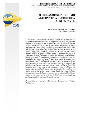 ENEGEP2007_TR650481_0089.pdf ... O BIOGAS DE SUINOS ...