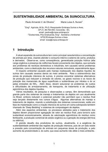 sustentabilidade ambiental da suinocultura - Embrapa Suínos e Aves