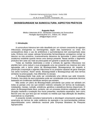 BIOSSEGURIDADE NA SUINOCULTURA: ASPECTOS PRÁTICOS