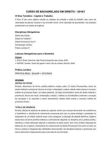 CURSO DE BACHARELADO EM DIREITO – 2010/1 - UniRitter