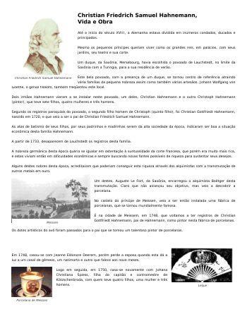 Christian Friedrich Samuel Hahnemann, Vida e Obra - Matéria Médica