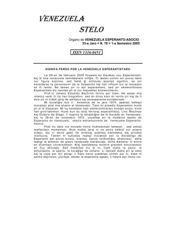 Venezuela Stelo N-ro 76 - Esperanto-Venezuela | Esperanto en ...
