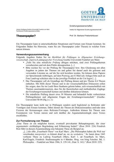 Thesenpapier Goethe Universitat