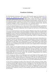 Frankfurter Erklärung - Goethe-Universität