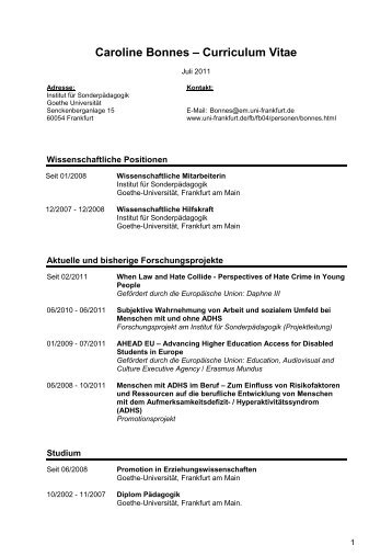 Bonnes Uni CV Juli 2011 - Goethe-Universität