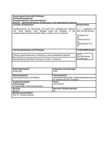 """Sprachkompetenz B.Ind.61 """"Sprachintensivkurs - Georg-August ..."""