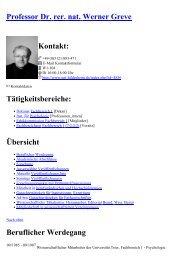 Professor Dr. rer. nat. Werner Greve Kontakt - Universität Hildesheim